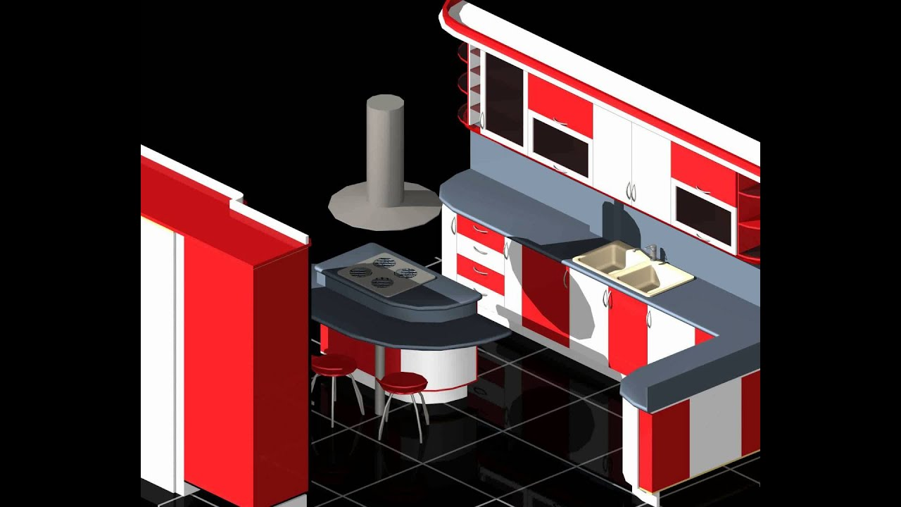 modular kitchen auto cad 3d 3d model from youtube. Black Bedroom Furniture Sets. Home Design Ideas
