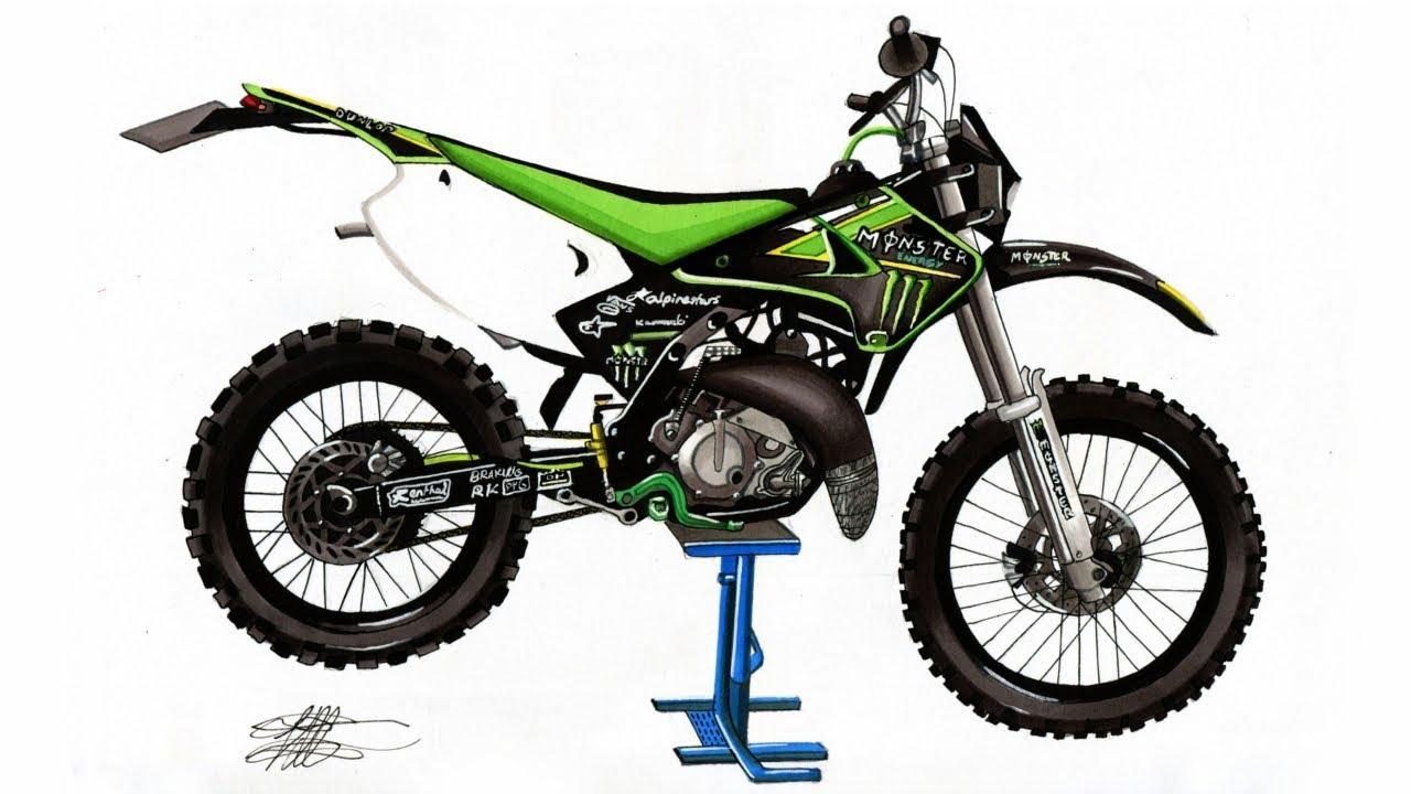 Realistic Motocross Bike Drawing Kawasaki Kdxkx 125 Time Lapse
