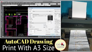 Print Autocad drawing in A3 paper size   Plot Autocad drawing A3 size   EPSON L1300    CAD CAREER