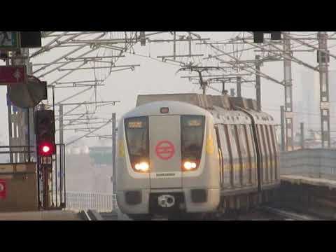 Delhi Metro Yellow Line Bombardier Train entering Badli Metro Station