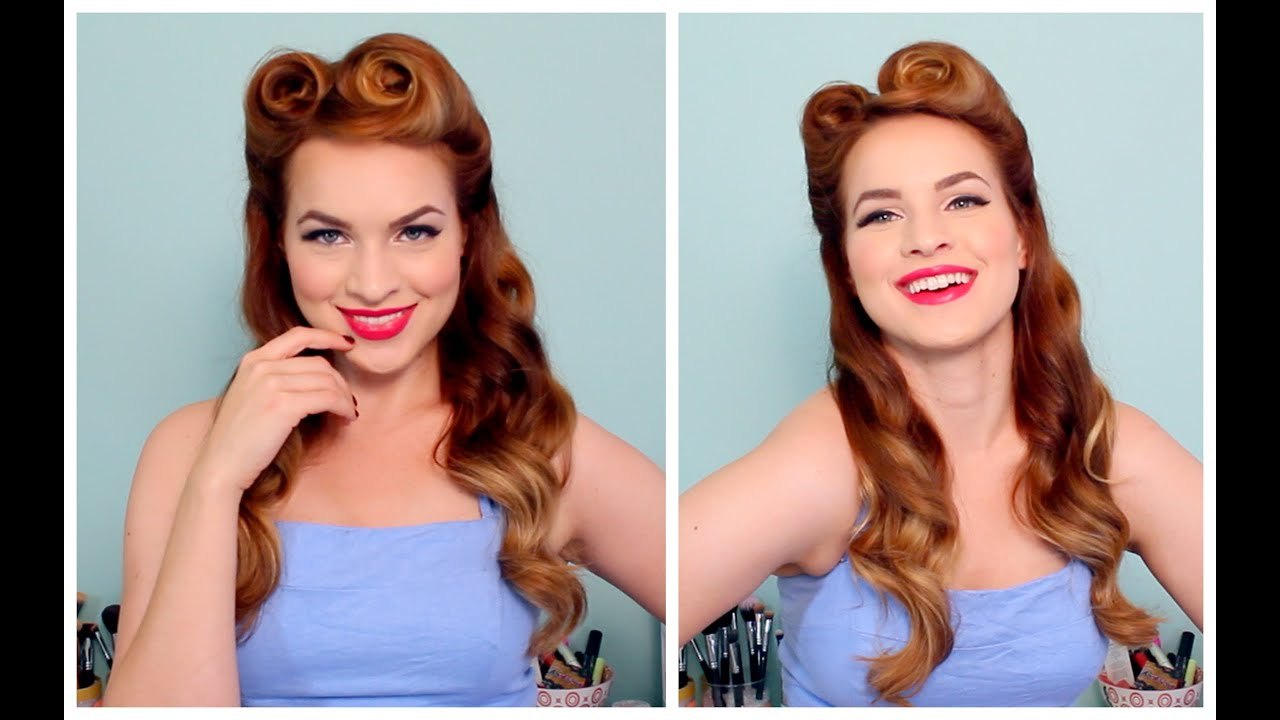 1940's / 50's pinup hair and makeup - youtube