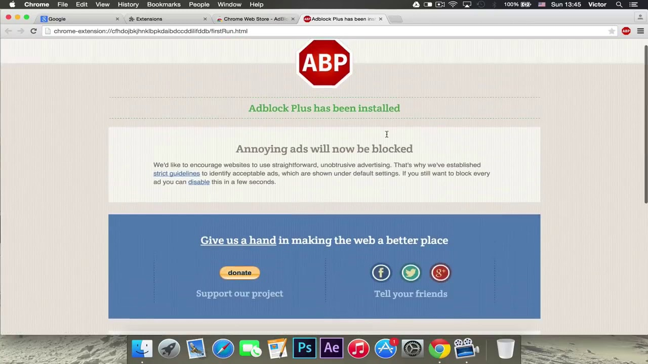 Install AdBlock for Chrome Windows