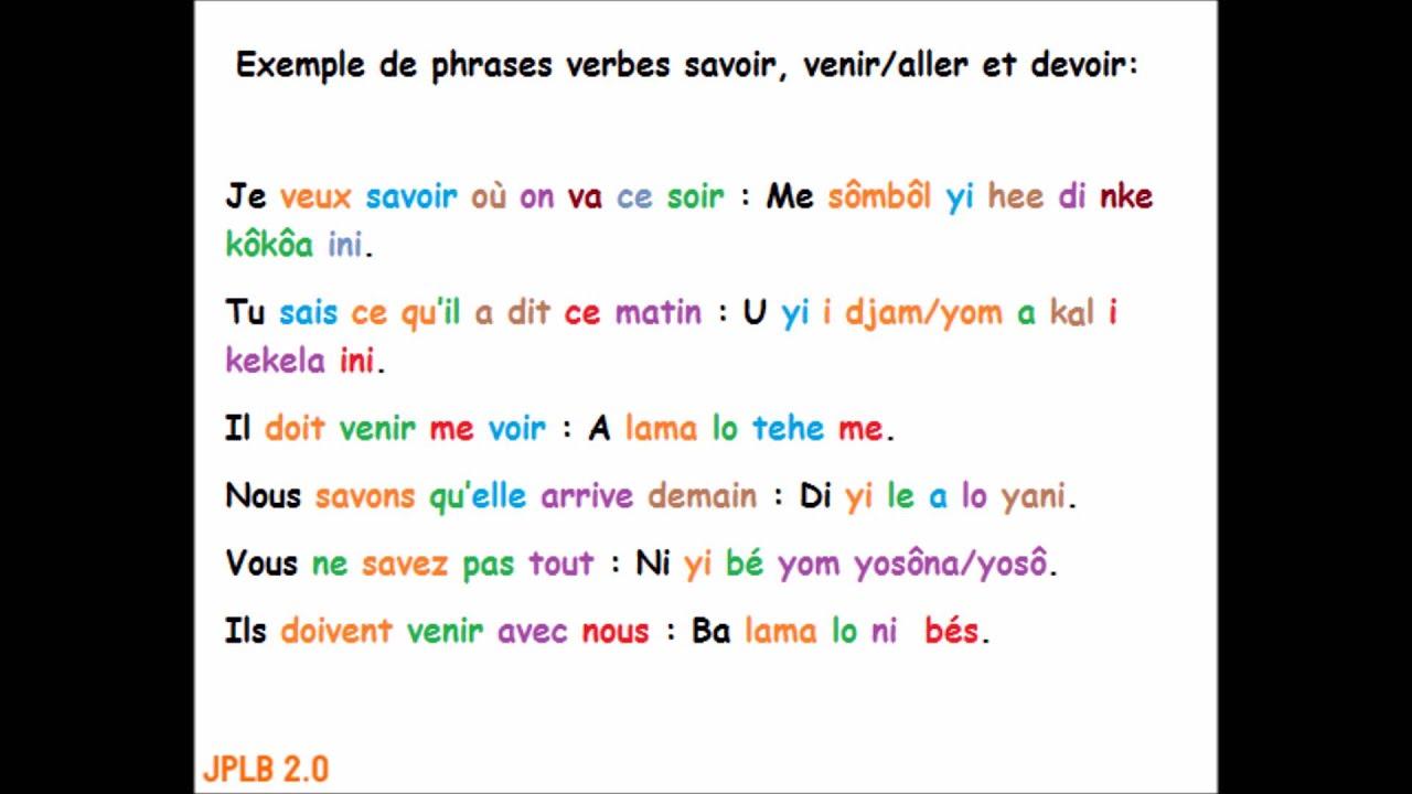 Exemple de phrases verbes savoir, venir/aller et devoir ...