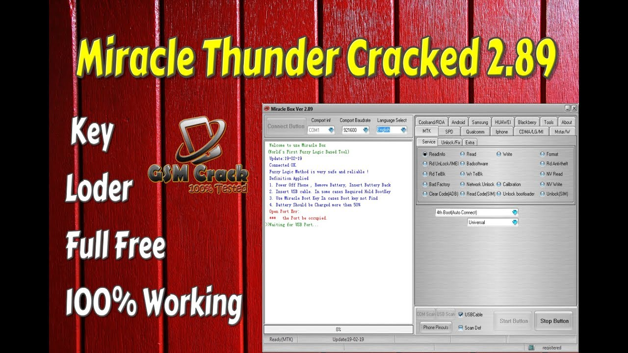 Miracle Thunder Cracked 289Key Loder Full Free 100 Tested GSM