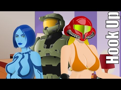 Cartoon Hook-Ups: Master Chief, Cortana and Samus (REVISED)