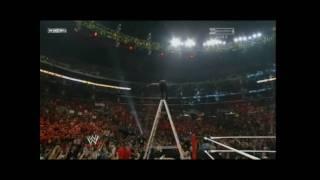 Jeff Hardy Swanton Bomb off the Ladder on CM Punk