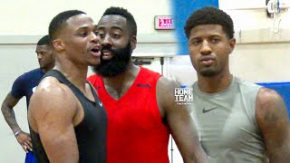 Russell Westbrook, James Harden \u0026 Paul George Go At It At Rico Hines UCLA Run