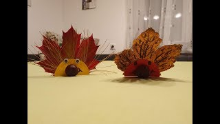 Autumn / Decoration crafting with children: cute hedgehogs with leaves and chestnut