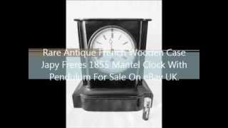Rare Original Antique French Wooden Case Japy Freres 1855 Mantel Clock