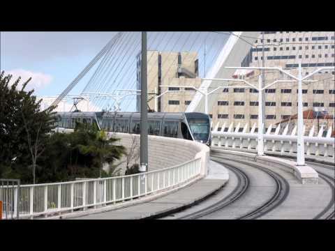 Jerusalem tram/light rail - רכבת - Chords Bridge - הרכבת הקלה בירושלים