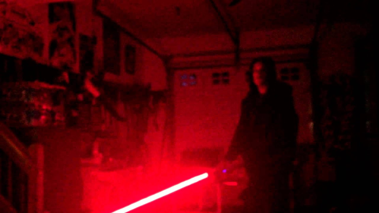 Red Lightsaber Blade with Yellow Flash on Clash Test #3 Lights Off - YouTube
