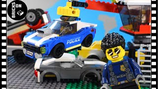 Lego Junkyard Police Heist Chase Bank Robbery Stop motion Animation Catch the crooks SWAT City 60242