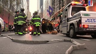 **MANHATTAN CRASH** FDNY & NYPD ESU Overturned Car, West 44th St., 10/16/2014.