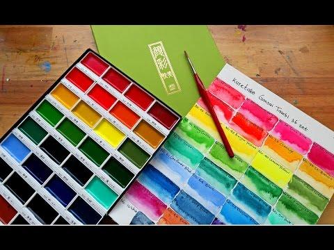Kuretake Gansai Tambi watercolor - first impressions and color chart