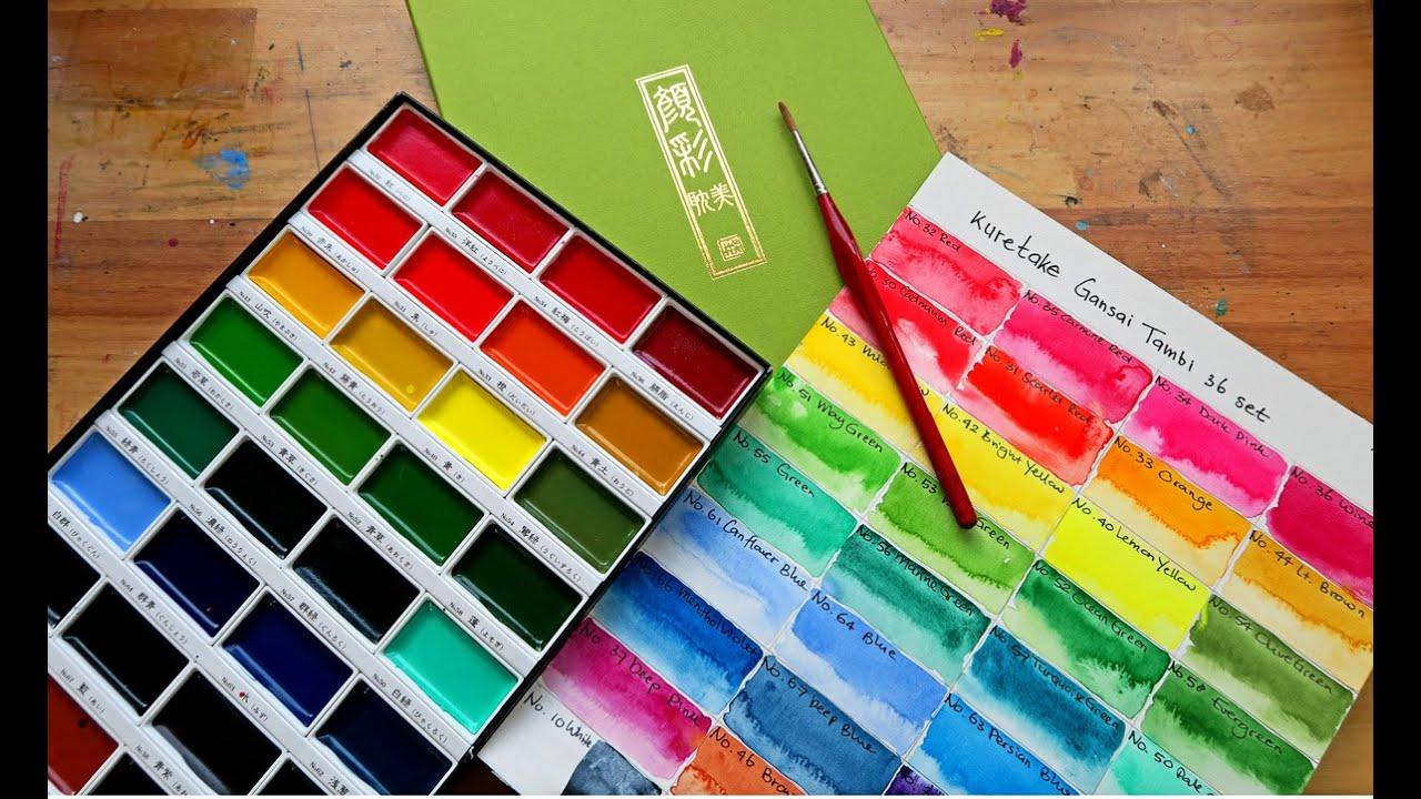Kuretake Gansai Tambi watercolor - first impressions and color chart ...