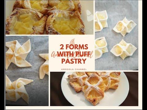 pineapple-and-pastry-cream-puff-pastry🥟pâte-feuilletée-à-l'ananas-rapide-😋تشكيلات-بالعجينة-المورقة