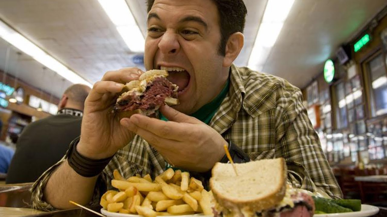 Eating Fat Guy Burger Happy