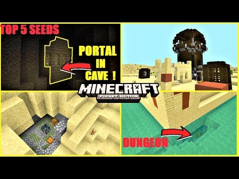 Top 5 BEST Minecraft PE Seeds In 2020 #5 ! Portal In Cave, Dungeon Under Temple & MORE ! | MCPE 1.14