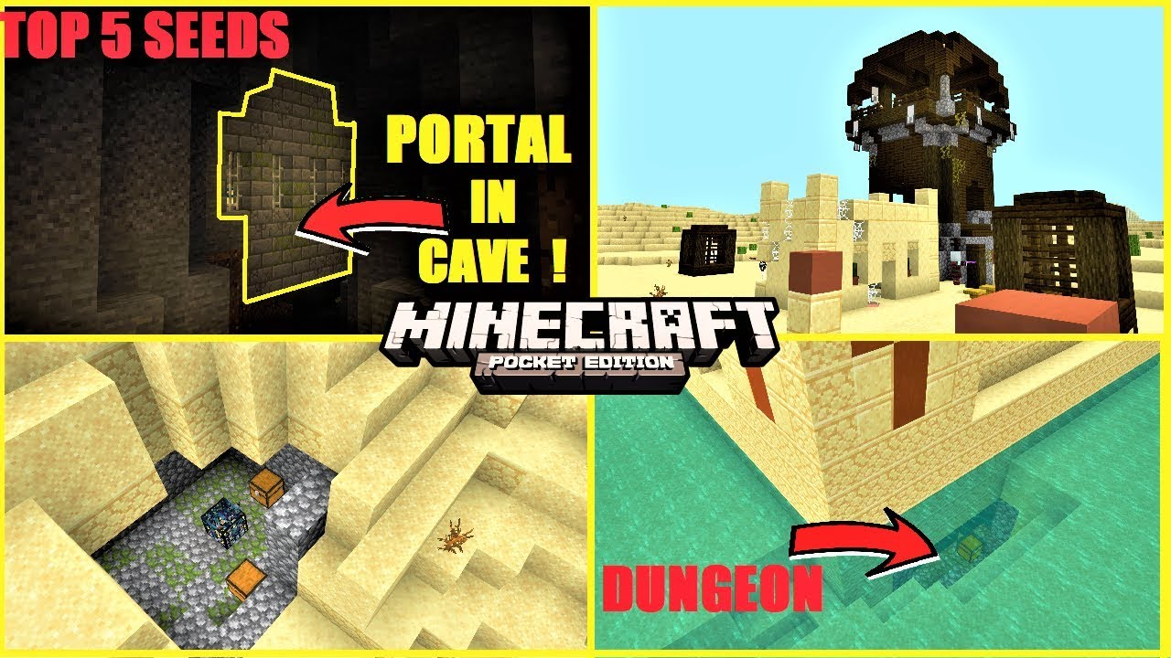 Top 5 Best Minecraft Pe Seeds In 2020 5 Portal In Cave Dungeon Under Temple More Mcpe 1 14 Youtube