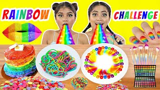 Rainbow Colors - Food vs Beauty Challenge I Anaysa