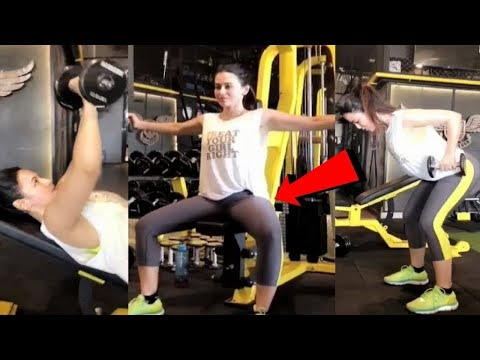 Bollywood Actress Sana Khan Hot Workout In Tight Outfit