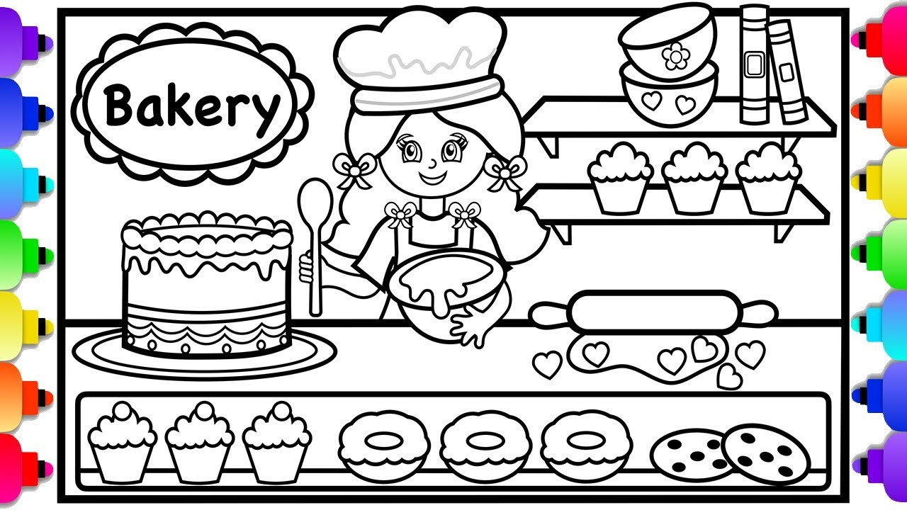 how to draw a bakery shop and a girl 🍰💜🍰cute bakery