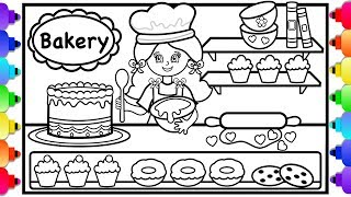 How to Draw a Bakery Shop and a Girl 🍰💜🍰Cute Bakery Coloring Page for Kids