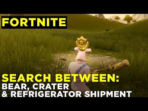 Search between a Bear, Crater and a Refrigerator Shipment - Fortnite Challenge Location Guide