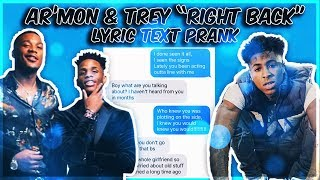 "AR'MON AND TREY FT. NBA YOUNGBOY ""RIGHT BACK REMIX"" LYRIC TEXT PRANK ON EX GIRLFRIEND WHO CHEATED"