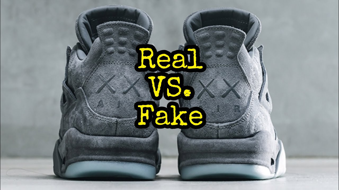 "timeless design 75fc3 1e3fa BEST Real vs. Fake // Jordan 4 ""Kaws"""