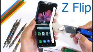 Тест на прочность Samsung Galaxy Z Flip - фальшивое складное стекло?| JerryRigEverything на русском