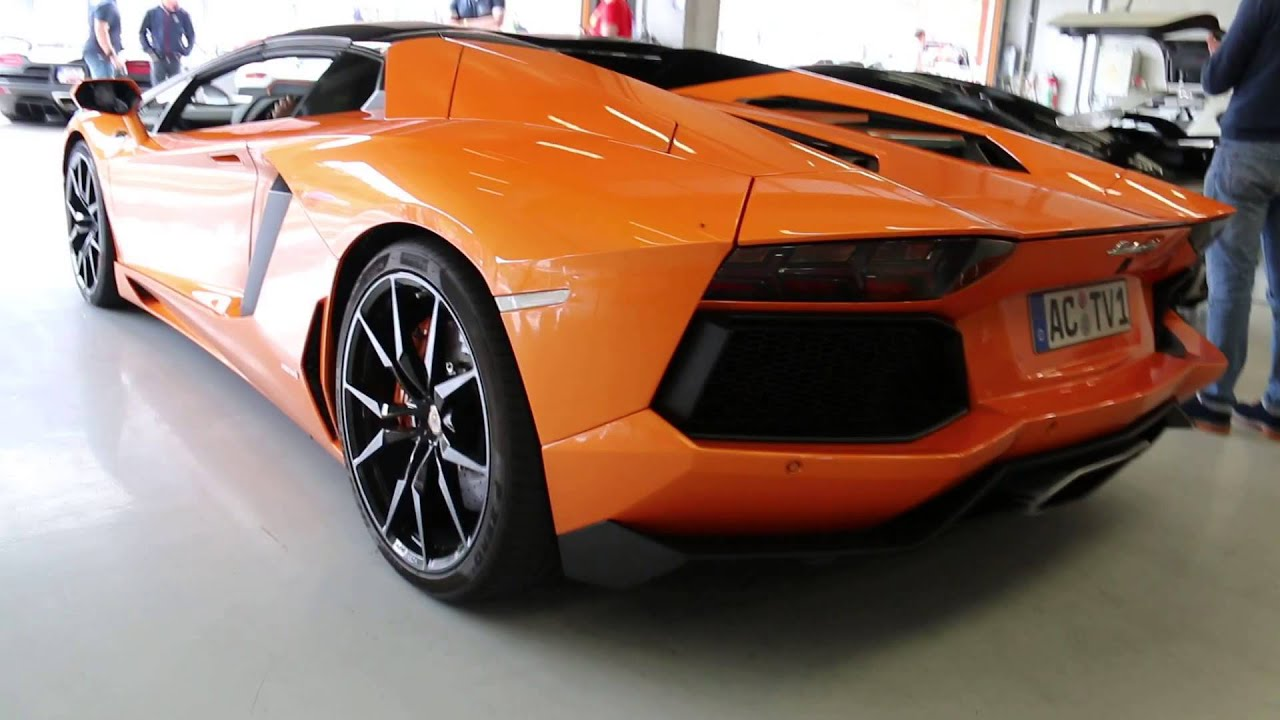 Orange Lamborghini Aventador: Orange Lamborghini Aventador LP700-4 Roadster Startup