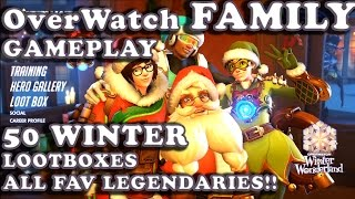 OverWatch FAMILY GamePlay Winter 50 LOOTBOXES with MAIN Legendaries