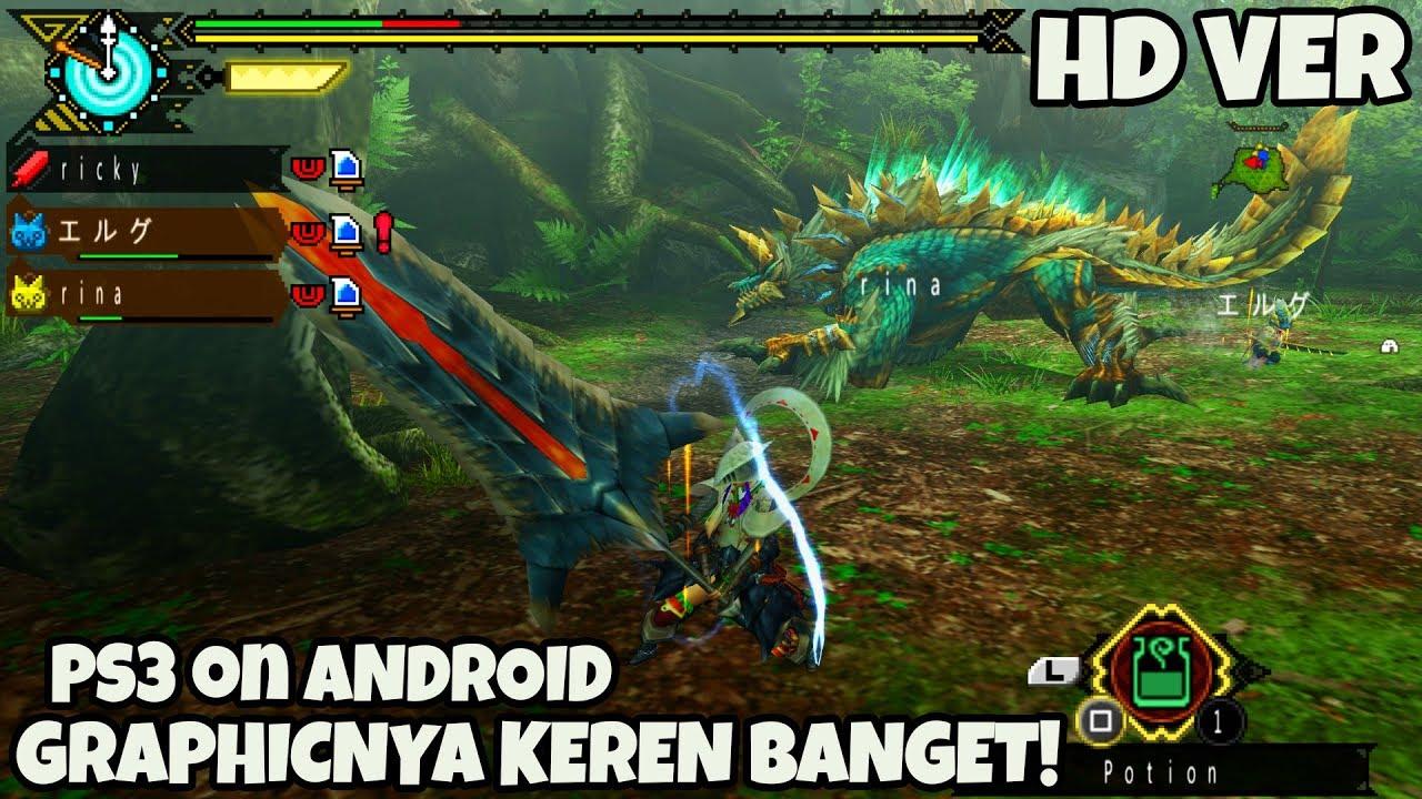 GAME PS3 YANG BISA DI ANDROID!! MONSTER HUNTER 3 HD ANDROID RESOLUSI 5X PSP  ( 2400X1360 ) GAMEPLAY
