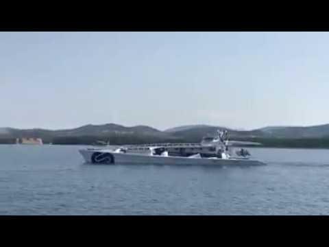 Adriatic sea Croatia - Energy observer boat passing trough Sibenik channel