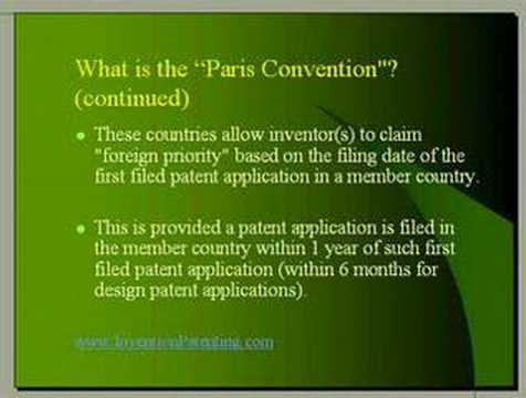 Inventors and Patents Chapter 7 - What is the Paris Convention?