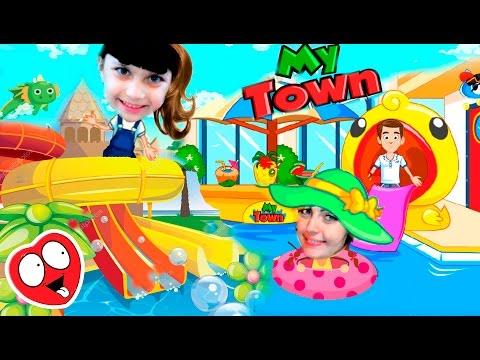 My Town МЫ В ОТЕЛЕ АКВАПАРК Смешное видео игра мультик для детей мой город KIDS CHILDREN Валеришка