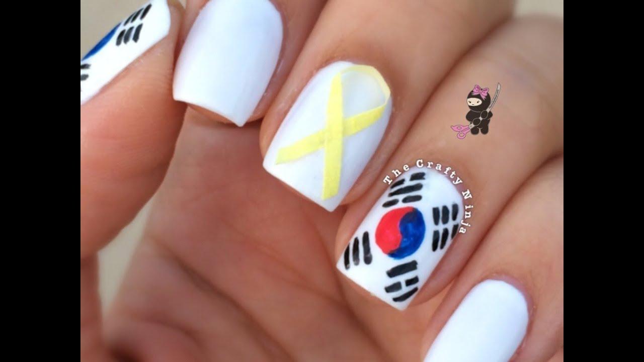 Pray for South Korea Flag Nails by The Crafty Ninja - YouTube