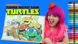 Coloring Teenage Mutant Ninja Turtles GIANT Coloring Page Crayons | COLORING WITH KiMMi THE CLOWN