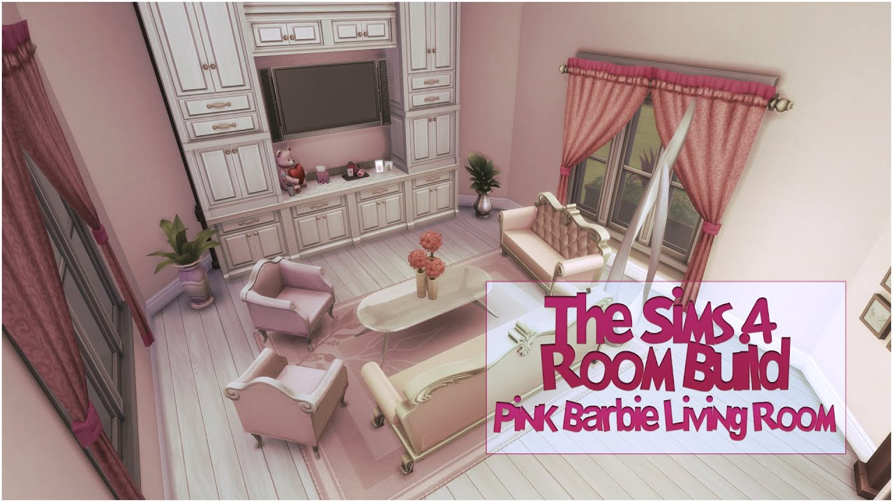 The Sims 4 Room Build | Pink Barbie Living Room   YouTube