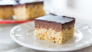 CHOCOLATE PEANUT BUTTER RICE KRISPIES SQUARES