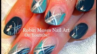 Cute Nails! Diy Mint Stripe Nail Art | Fun Silver And Teal Nail Design!!