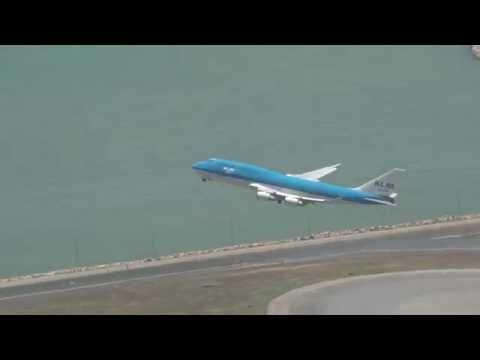 Beautiful KLM 747 Take off at Hong Kong airport with ATC