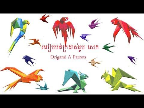 របៀបបត់ក្រដាសរូបសត្វសេក   How to make origami a parrots