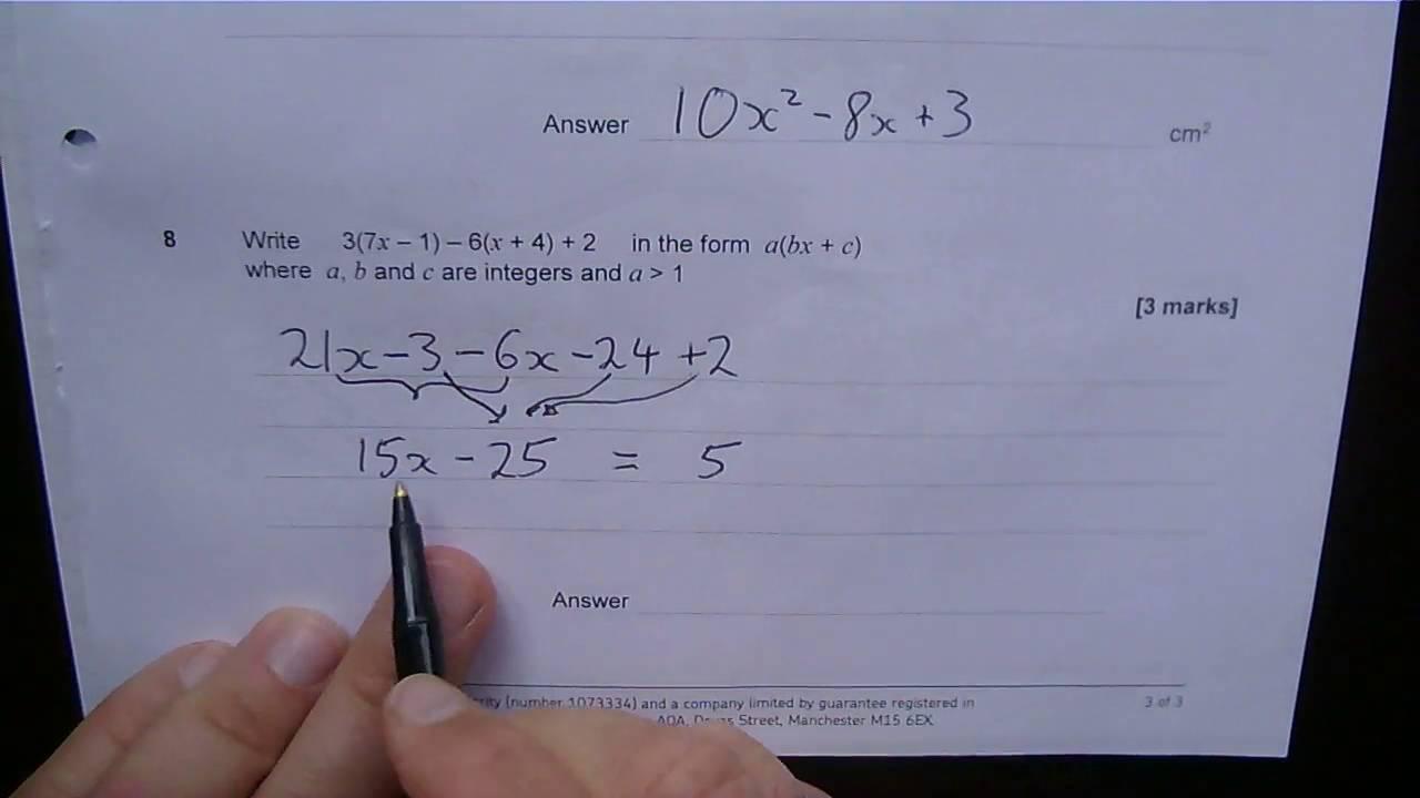 Aqa Maths Gcse Higher Topic Test Q8 Manipulating Algebr Youtube