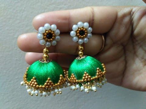 73fe5bf29ef Easy and Simple Pearl Silk Thread Earrings | Tutorial