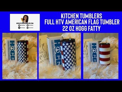 Full Glitter HTV American Flag Tumbler Tutorial| 22oz Hogg Fatty