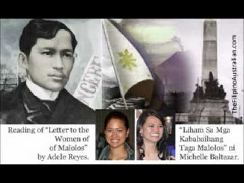 summary of rizal s letter for the young women of malolos In to the young women of malolos, rizal in penning a letter tothe women of the philippines he encourages the qualities he valuesin women in.