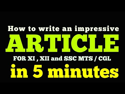 Article writing format II for 11th & 12th class