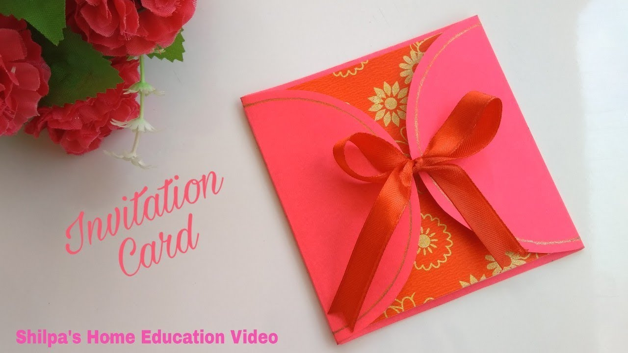 handmade invitation card l easy diy beautiful greeting card l how to l shilpa s home education video